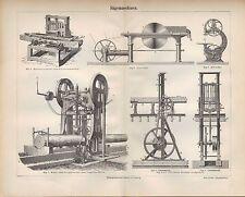 Lithografie 1890: SÄGEMASCHINEN. Maschinen sägen hobeln Holz Technik Kirchner