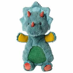 Mary Meyer Pebblesaurus Lovey Soft Toy, 13-Inches, Blue Triceratops Dinosaur