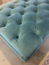 Handmade Large Deep Button Velvet Footstool on Wooden Legs with Metal Casters