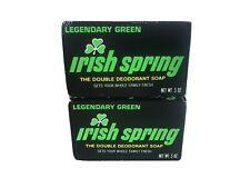 (2) Vintage Irish Spring Deodorant Soap 5 oz. Bar - Legendary Green - Bath Size