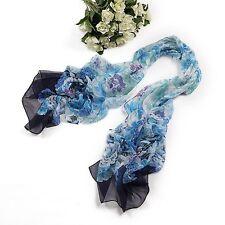 Long Silk Chiffon Scarf Blue Theme Floral Print SCH039