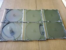 6 Cd Dvd Cases Clear Fronts Black Backs Slits For Inserts