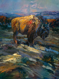 High Plains Bison by Terry Lee Buffalo Wildlife Canvas Giclee L/E Print 40x30
