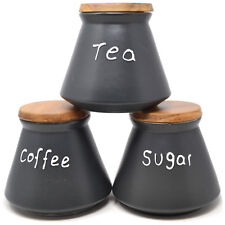 SET OF 3 DOME CANISTERS SUGAR COFFEE TEA CERAMIC WOODEN LID 13CM KITCHEN NEW
