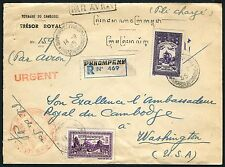 Kambodscha Khmere 1955 Luftpost R-Brief Tresor Royal an den Botschafter USA / 16