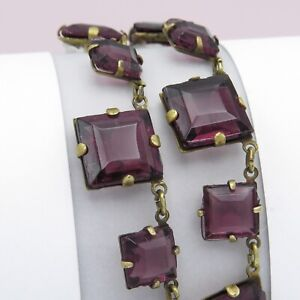 Vtg 1930s Art Deco Signed Czech Amethyst Glass Geometric Necklace