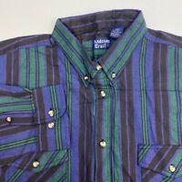 Andover Trail Button Up Shirt Men's 2XL XXL Big Man Long Sleeve Multi Striped