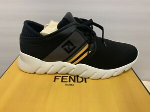 $750 Fendi Forever Fendi Nylon Runner Sneakers Size 13 US Black