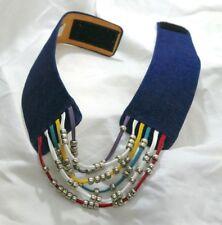 Vintage 1980's Denim Womens Belt Leather & Bead Detail - Rad Rainbow!