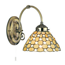 Searchlight 3141-1CL Raindrop Antique Brass Wall Light Tiffany Style Glass