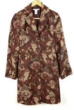 CAbi Coat Jacket Duster Brocade Tapestry Jacobean Rust Floral ~ Sz 14 *MINT*