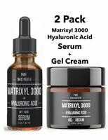 2Pk Hyaluronic Acid + Matrixyl 3000 Peptide Face & Eye Wrinkle Serum + Gel Cream