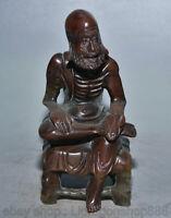 "4.8 ""vieux chinois Tianhuang Shoushan sculpture sur pierre Dharma Bouddha sceau"