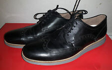 COLE HAAN GRAND OS Wing Tip Lace Up Oxford Black Leather Grey Sole 12 M Mens