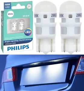Philips Ultinon LED Light 168 White 6000K Two Bulb License Plate Replace Color