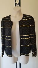 Ladies CLASSIC sparkly SEQUIN Jacket size 12 Black GOLD vintage FREE POST