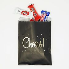 48 Black and Gold Cheers Party Favor Gift Bags Popcorn Bags Birthday Wedding