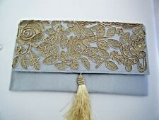 Silver With Gold Lace Evening Bag Purse Clutch Handbag Prom Wedding New With Tag