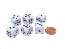 Pack of 6 Heart 'Ice Cream' 16mm D6 Chessex Dice - Blue with Black Hearts