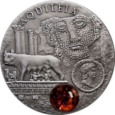 Niue  $1 Amber Route Serie Aquileia- Lobo wolf Silver Antiqu Coin with amber