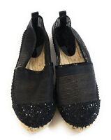 Jimmy Choo Women Black Glitter Loafers Slip On Espadrille Flats Shoes Size 36.5