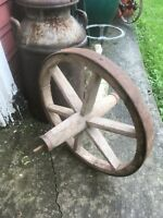 Vintage Wood Spoke Iron clad wheel barrow wheel Farm Fresh Country Decor 20in