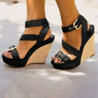 Summer Women Ankle Strap Buckle Sandals Ladies Platform High Heels Shoes 34-43