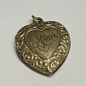 "Antique Gold Filled Ornate Heart Monogrammed ""Ann"" Pendant Charm Not A Locket"