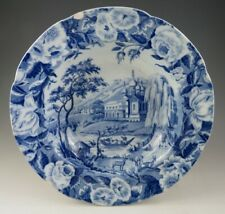 Antique Pottery Pearlware Blue Transfer Russian Palace Pudding Bowl 1825