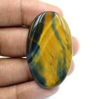 Cts. 72.80 Natural Chatoyant Blue Tiger Eye Cabochon Oval Loose Cab Gemstone