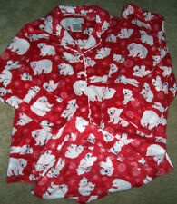 NWT Karen Neuburger Red Fleece Pajama Shirt/Pants Set WHITE POLAR BEARS L SOFT