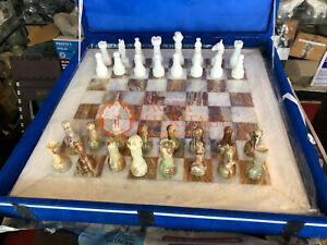 "20"" Marble White Chess Set With Chess Pieces Inlaid New Year Eve Gift Special"