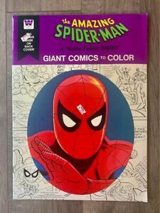 Vintage 1976 Amazing Spider-Man Giant Comics to Color book with mask- LOOK!!