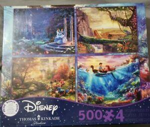 Disney Thomas Kinkade 4-in-1 500 Jigsaw Puzzle 3673-1 3 New Cinderella Lion ++