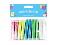 10 x Easter Glitter Tubes Kids Craft Art Pastel Painting Card Drawing Projects