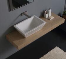 Lavandino Lavabo Appoggio/Sospeso Rettangolare Pietra Bianco in Ceramica 60x40cm