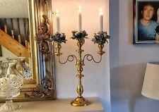 Antique Brass Candelabra Christmas Table Centerpiece Vintage  00000914 Candlesticks