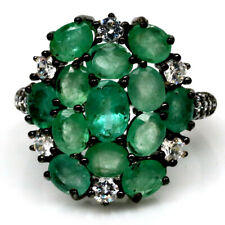 NATURAL 4 X 7 mm. GREEN EMERALD & WHITE CZ 925 STERLING SILVER RING SZ 8