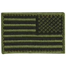 USA American Reverse Flag Tactical Army Morale Badge Olive Drab Dark Hook Patch