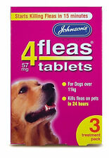 Johnson's 4 Fleas Tablets, Large Dog 11kg+, 3 Pack