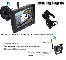 "Wireless IR Reversing CCD Backup Camera+4.3"" Monitor+Suction for Caravan 12-24V"