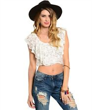 NEW! DULCIE Sexy SHEER Lace CROPPED Bohemian TOP ~ Juniors Small / Bust to 30""