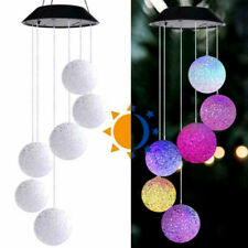 LED Solar Powered Wind Chime Hanging Light Color Changing Lamp Yard For Outdoor