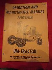 Uni-Tractor Model Minneapolis Moline Factory Operational Maintenance Manual
