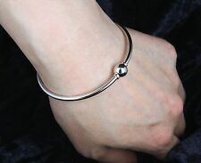 GENUINE SOLID 925 STERLING SILVER Hinged Bracelet Bangle Screw Ball Clasp AUST
