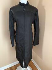 Auth Prada Long black leather Shoulders coat M