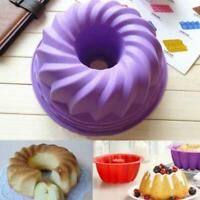 10Pcs  Silicone Baking Mould Swirl Ring Cake Bread Pastry Mold Pan Bake Tool AU