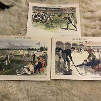 1878 Kessler's Whiskey Sporting Prints Hockey Tennis Football