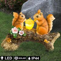 LED Design Außen Solar Lampe Eichhörnchen Baumstamm Veranda Figur Akku Leuchte