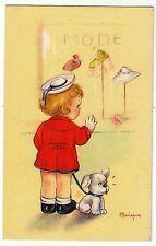 Bimba davanti a vetrina di moda - Cappelli - Illustrata da Mariapia - Anni '40